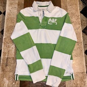 Men's SZ M Abercrombie & Fitch Striped Rugby